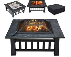 Multifunctional Fire Pit Table Stove Backyard Patio Grill Camping Bonfire