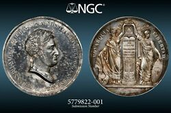 1820, Spain, Ferdinand Vii. Silver Oath Of The Constitution Medal. Ngc Ms-62