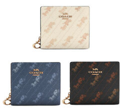 Coach Snap Wallet With Horse And Carriage Dot Print Id Window Brand New