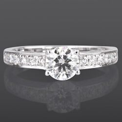 Women Natural 18k White Gold Diamond Ring Solitaire And Accents 1 1/4 Carats