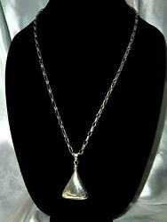 Handmade Vtg Mexico Sterling Silver Perfume Flask Pendant Link Chain Necklace