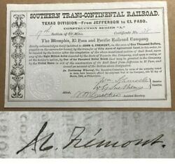 John C. Fremont Signed Southern Trans-continental Railroad Stock 1868 Psa/dna