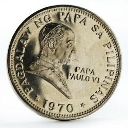 Philippines 1 Piso Pope Iv Visit Proof Cuni Coin 1970
