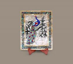 Modern Marble Handmade Serving Food Tray Collectible Peacock Inlaid Art Decor