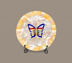 Marble Collectible Decorative Food Plater Mop Butterfly Semi Precious Art Décor