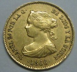 1866 Madrid 4 Escudos Isabel Ii Spain Gold Doubloon Spanish Colonial Era Coin