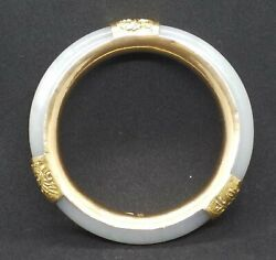 Antique Chinese Export Natural Icy White Nephrite Jadehetian Bangle W/14k Gold