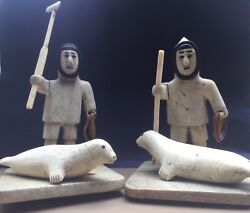 Intuit Eskimo Hand Carved Hunters Pair Sold Separately Well Over 100 Yr Old