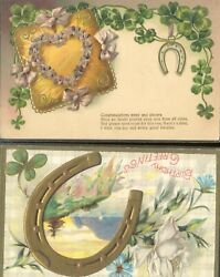 Pc11023 Postcard Good Luck Horse Shoe Embossed Used Two