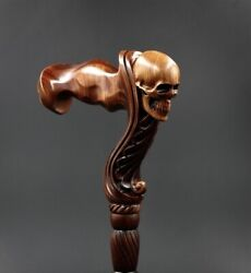 New Wooden Cane For Right - Skull Wood Carving 92 Cm Handmade Fashion Accessory