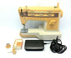 Vintage Used Singer Stylist 834 Zig-zag Beige Sewing Machine With Pedal