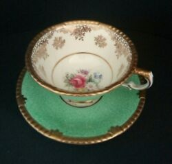 Paragon By Appointment Signed Gold Green Teacup Saucer 1939-49 Fine Bone China