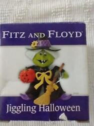 New 4fitz And Floyd Halloween Jiggling Witch,shiney Ceramic Bobble Head,festive