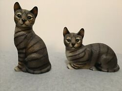 House Of Global Art Set Of Two Hand Painted Tabby Cat Figurines Nice C-2