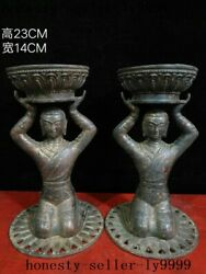Old Chinese Palace Dynasty Bronze Kneeling Man Maid Lotus Candlestick A Pair