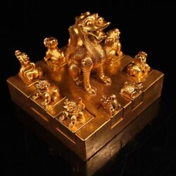 China Ancient Bronze 24k Gold Lucky Animal Long Beast Statue Seal Stamp Signet