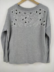 American Eagle Sweater Size Xs/tp Grey Floral Relaxed Fit Casual