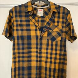 Levi#x27;s Size Small Women#x27;s Yellow Blue Plaid Flannel Button Up Short Sleeve Shirt $29.99