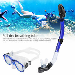 Adults Snorkel Set Anti‑fog Diving Cover Tempered Glass Goggles W/ Snorkel Tube