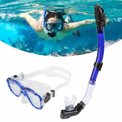 Adults Snorkel Set Anti‑fog Diving Cover Tempered Glass Goggles Dry Snorkel Tube
