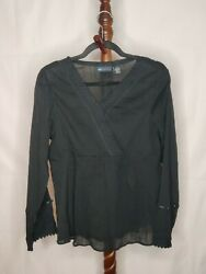 Nwot Relativity Women's M Top Black V-neck Long Sleeve Gathered In Front Lace