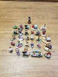 Lot Of 29 Wee Forest Folk Mice Figurines - Sewing, Birthday, Knitting, More