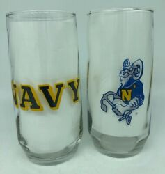 Vintage Set Of 2 Navy Us Naval Academy Bill The Goat Drinking Glasses