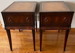 Antique Stickley Grand Rapids Mahogany Empire Revival Style End Tables Leather