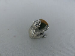 Cute Antique Or Vintage Nicely Detailed Sterling Silver Seated Frog Pincushion