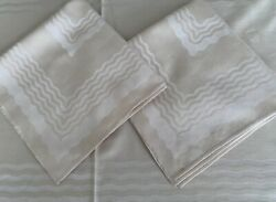 Vintage Tablecloth+12 Napkins Beige Rayon Blend 100x63 Shiny Wavy Lines V Luxe