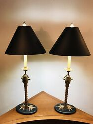 Vintage 1979 Brass 34andrdquo Frog Table Lamps Novelty Toad Pair Black Shades