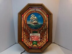 Heilemans Special Export Beer Illuminated Faux Stained Glass Ship Scene Sign