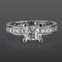 Certified 1.2 C Princess W Side Stones Diamond 18k Solid White Gold Promise Ring