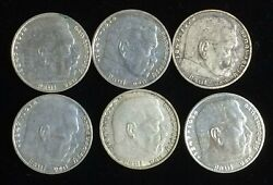 1937 And 1939 German 2 Mark Lot 6 Coins Includes 1937a And 1939 A And B