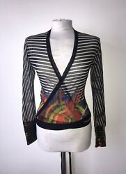 Jean Paul Gaultier Sz L Navy-red-yellow Feather And Hoop Pattern Stretch Top