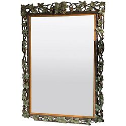 Large Black Forest Grapevine Reticulated Carved And Painted Wall Mirror