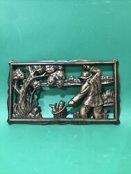 Coppercraft Guild Pair Hunting Fishing Duck 2 Vintage 3d Plaques Cabin Decor Usa