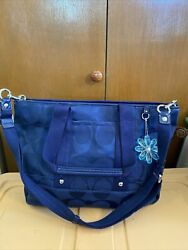 New Large Navy Signature Crossbody Coach Purse Patent Trim Flower Hang Tag $198.00