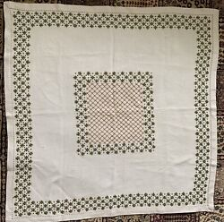Vintage Linen Rayon Mix Tablecloth Swiss Made