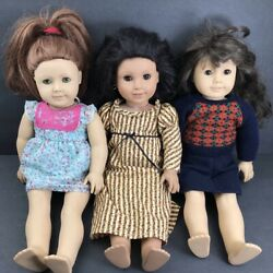 Lot Of 3 American Girl Dolls 18 Felicity Samantha Josefina Pre-owned W/ Outfits