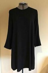 Nwt Eileen Fisher Silk Georgette Crepe Dress In Black Size S M Fits M L