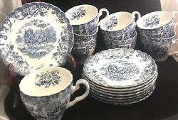 Johnson Bros. Coaching Scenes 8 Cups/8 Saucers Ironstone 5 W/ Flowers And 3 W/o