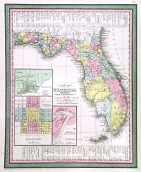 Florida. Genuine Antique Map By Thomas And Cowperthwait For Mitchell Ca. 1850