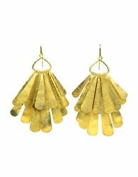 Authentic Tom Ford Gold Vermeil Sterling Silver Xl Layered Hanging Earrings