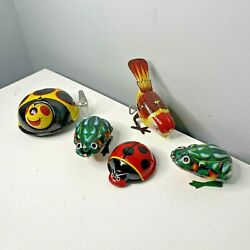 Vintage Lot Of Japanese Chinese Tin Wind Up Toys Frogs Bugs Bird As Found