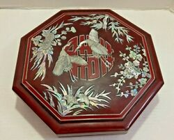 Vintage Japanese Lacquer Wood Bento Box Mother Of Pearl Inlay Octagon 11.5