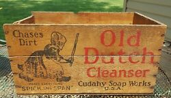 Antique Vintage Wooden Old Dutch Cleanser Cudahy Soap Works Usa Crate Box
