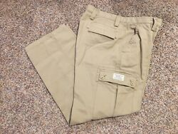 Men's Size 35x32 Eddie Bauer Authentic Outdoor Outfitter Khaki Cargo Pants Nice