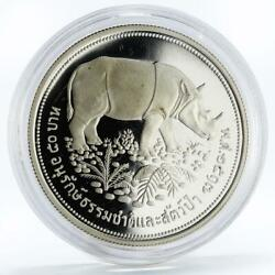 Thailand 50 Baht Wildlife Conservation Series Rhinoceros Proof Silver Coin 1974