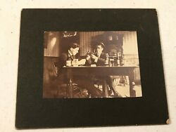 Antique Sepia Photograph Two Men Playing Cards 5 X 6
